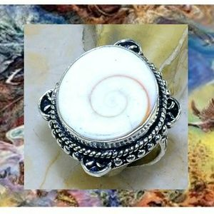 Shiva Shell ~ Handcrafted 925SS Ring 6.5